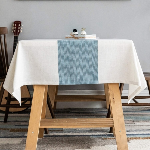 Linen Table Cover for Kitchen Dining Tabletop Decoration, Blue. Opens flyout.