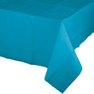 Pack of 6 Tropical Turquoise Blue Disposable Tissue/Poly Banquet Party Tablecovers 9'
