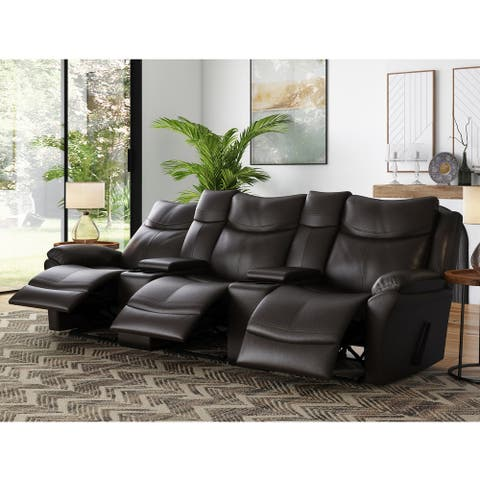 Copper Grove Peqin 3-seat Faux Leather Recliner Sofa with Power Console