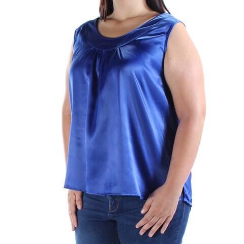 Womens Blue Sleeveless Jewel Neck Casual Top Size XL