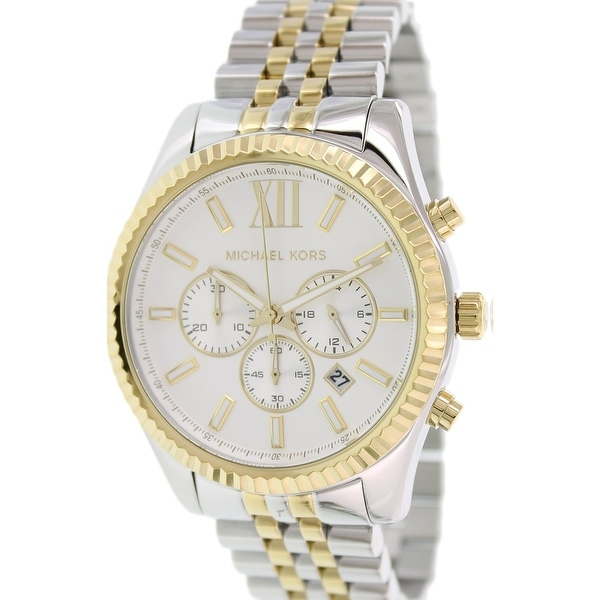 f840238aa043 Michael Kors Men  x27 s Lexington Silver Stainless-Steel Quartz Fashion  Watch