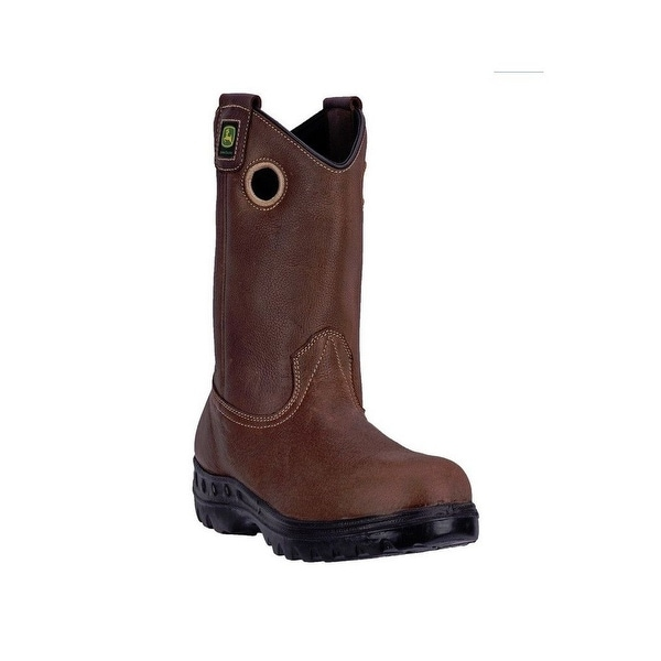 "John Deere Western Boots Mens 11"" Waterproof Steel Toe EH Brown"