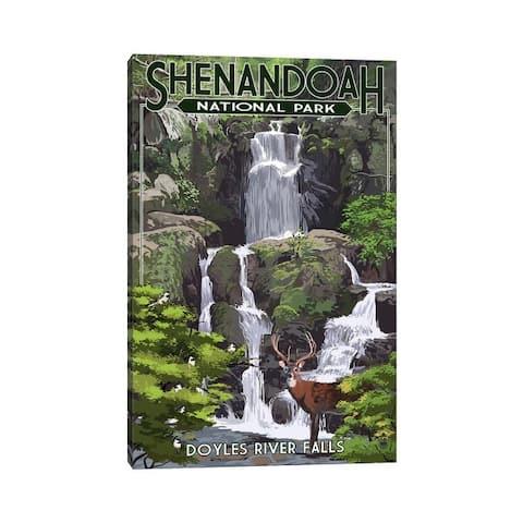 "iCanvas ""Shenandoah National Park (Doyles River Falls)"" by Lantern Press Canvas Print"