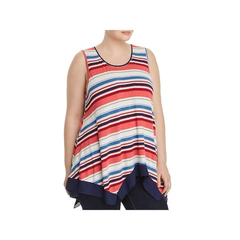 Cupio Womens Plus Tank Top Striped Sleeveless