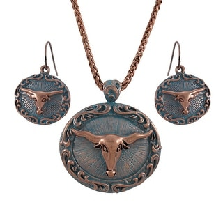 Copper and Turquoise Blue Western Longhorn Necklace and Earrings Set