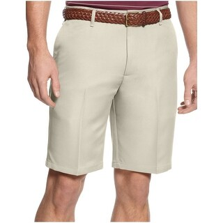 "Dockers Classic Fit Microfiber 10"" Flat Front Casual Shorts Khaki Solid 36 Waist"
