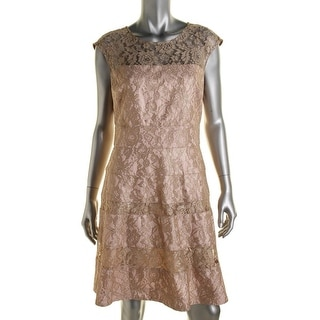 Kay Unger Womens Lace Metallic Cocktail Dress - 12