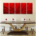 Statements2000 Red 5 Panel Contemporary Metal Wall Art by Jon Allen - Red Plumage - Thumbnail 5