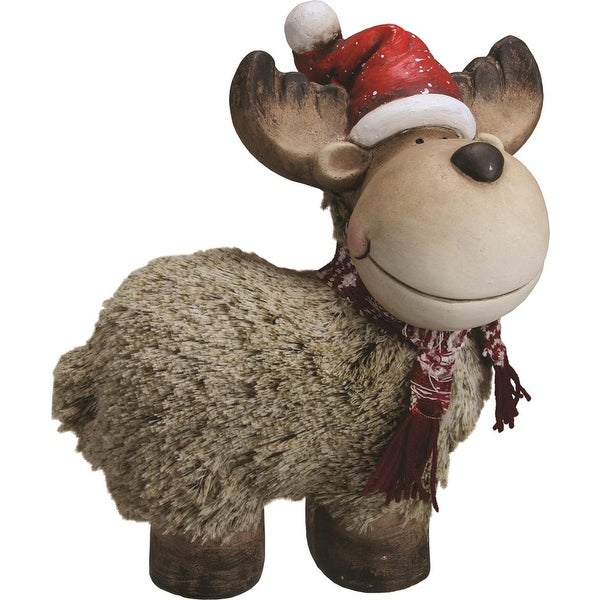 "12.25"" Whimsical Reindeer with Nordic Style Scarf and Santa Hat Christmas Table Top Decoration - brown"