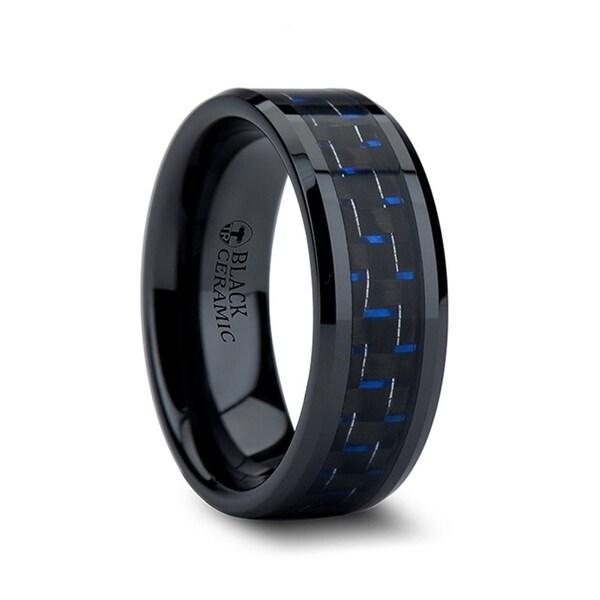 THORSTEN - AVITUS Black Beveled Ceramic Ring with Blue & Black Carbon Fiber Inlay