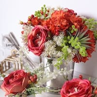 G Home Collection Luxury Red Orange Green with  Rose Hydrangea and Berry Flower Arrangement