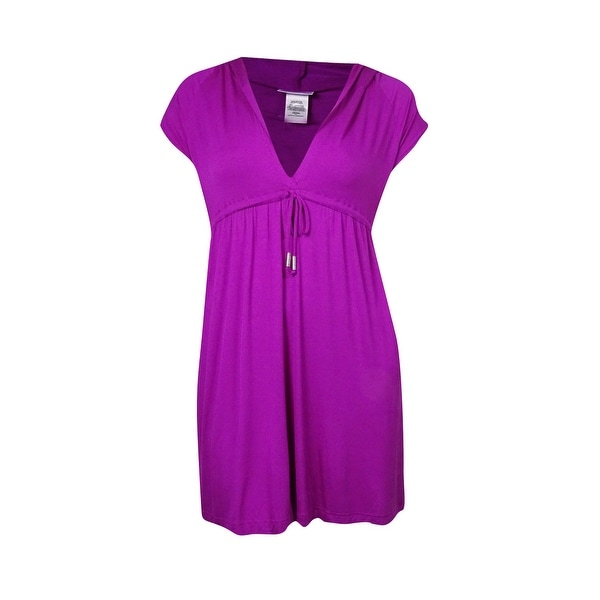 0c96ed8773 Shop Dotti Women's Belted V-Neck Hooded Tunic Swim Cover - Free ...