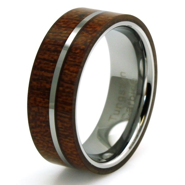 Titanium Mahogany Wood and Off-center Silver Colored Band Ring