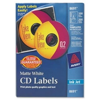 Avery AVE8691 CD Labels, Inkjet Matte, 100-PK, White