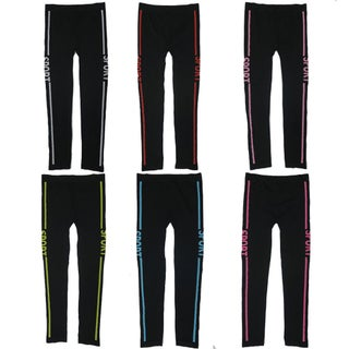 """Women's 6 Pack Seamless Double Stripes """"SPORT"""" Athletic Sports Yoga Full Length Leggings"""