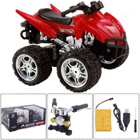 Costway 1/12 Scale 2.4G 4D R/C Simulation ATV Remote Control Motorcycle Kids Car Toys - Red