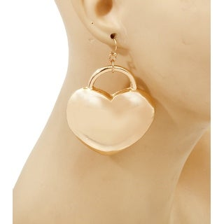 Metal Heart Earrings for Valentine's Day - gold