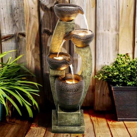 4 Crocks Outdoor Garden Fountain with Contemporary Design for Garden