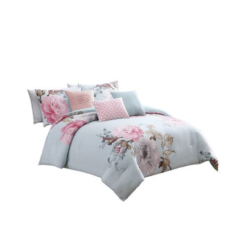 Queen Size 7 Piece Fabric Comforter Set with Floral Prints, Multicolor