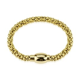 Stainless Steel Gold Plated Hollow Bubble Chain Link Bracelet (6 mm) - 8.25 in