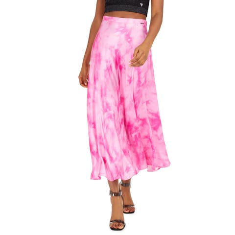 Guess Womens Arielle Midi Skirt Tie-Dye Satin - Dye Shades Fucsia Combo - S