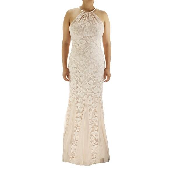 Xscape Nude Godet-Pleat Lace Halter Gown 12