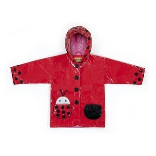 Kidorable Little Girls Red Black Lady Bug Pocket Hooded Rain Coat 2T-6X