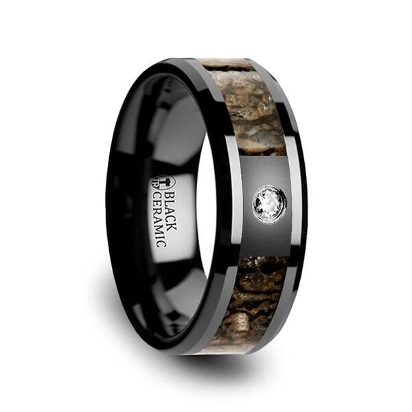 Brown Dinosaur Bone Inlaid Black Ceramic Diamond Wedding Band with Beveled Edges