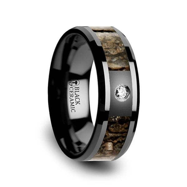 THORSTEN - Brown Dinosaur Bone Inlaid Black Ceramic Diamond Wedding Band with Beveled Edges