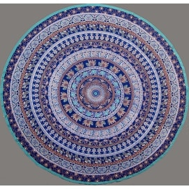"Handmade 100% Cotton Elephant Mandala Floral 81"" Round Tablecloth Blue Teal Green Golden Brown"