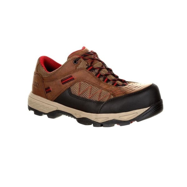"Rocky Work Shoes Mens Endeavor Point Leather 3"" Brown"