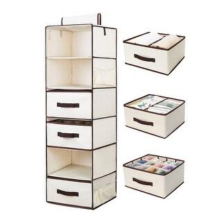 StorageWorks 6-Shelf Hanging Closet Organizer Foldable Hanging Shelves