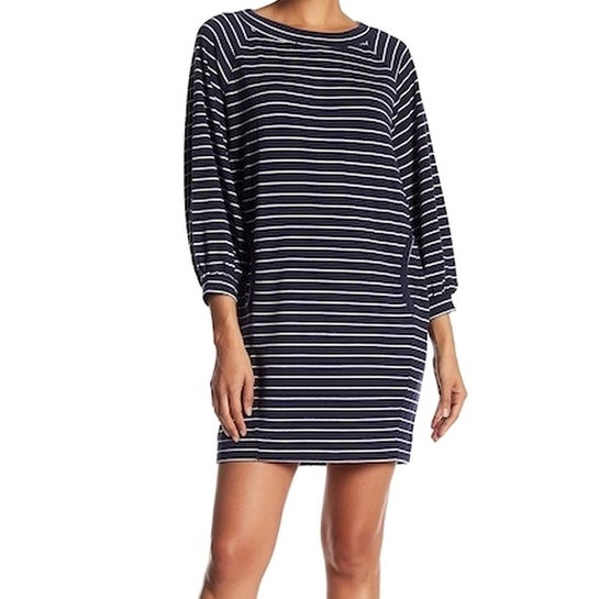 e2766ed27a Shop Max Studio NEW Blue Striped XS Kangaroo Pocket Scoopneck Sweater Dress  - Free Shipping On Orders Over  45 - Overstock - 18378543