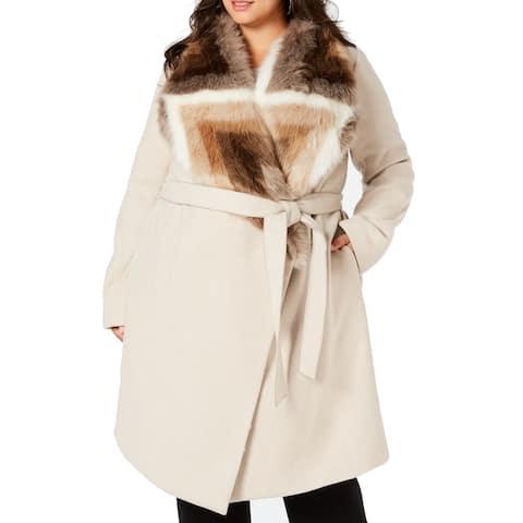 Alfani Women's Jacket Beige Size 1X Plus Faux-Fur Collar Belted