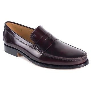 Tods Burgundy New Devon Polished Leather Penny Loafers