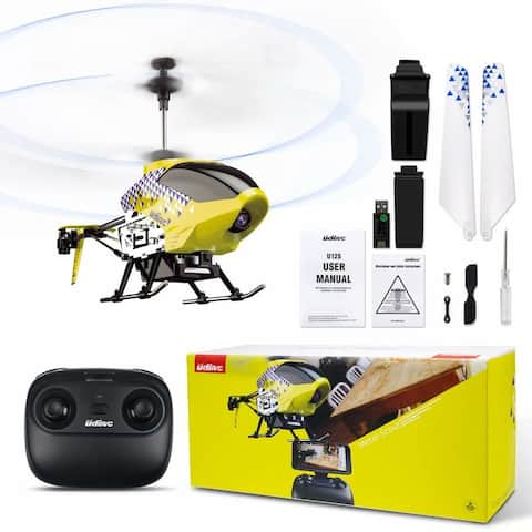 U12S RC Helicopter, FPV Camera Remote Control Alloy Helicopter Aircraft Toys(Yellow)