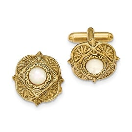 Goldtone Mother of Pearl Filigree Cuff Links