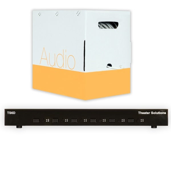 Theater Solutions TS6D Six Zone Dual Input Speaker Selector Box & C500-16-4 Wire