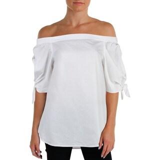 Lauren Ralph Lauren Womens Virindra Blouse Off-The-Shoulder Tie-Cuff