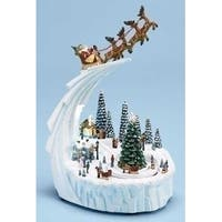 "9"" Musical Lighted Santa Claus with Sleigh Rotating Winter Scene Christmas Decoration - WHITE"