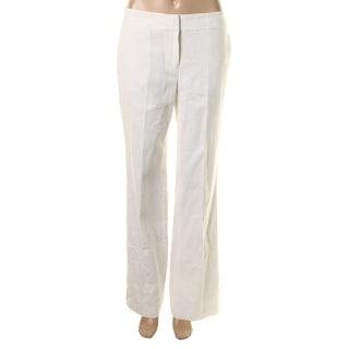 Nine West Womens Neo Classic Linen Flat Front Straight Leg Pants