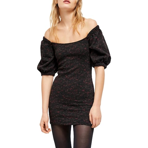Free People Womens Sunset Mini Dress Textured Cold Shoulders