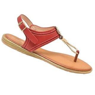 Lucita Adult Red Gold Stud Metallic Strap Buckle Flip Flop Sandals