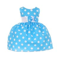 Baby Girls Blue White Polka Dot Bow Sash Headband Special Occasion Dress 3-24M