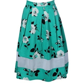 Aqua Womens Pleated Floral Print A-Line Skirt - M
