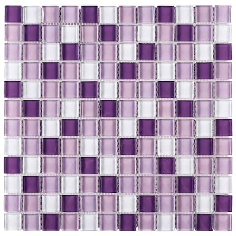 "TileGen. Grid 1"" x 1"" Glass Mosaic Tile in Mix Purple Wall Tile (10 sheets/9.6sqft.)"
