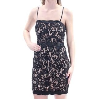 Womens Black Floral Spaghetti Strap Mini Cocktail Dress Size: 3