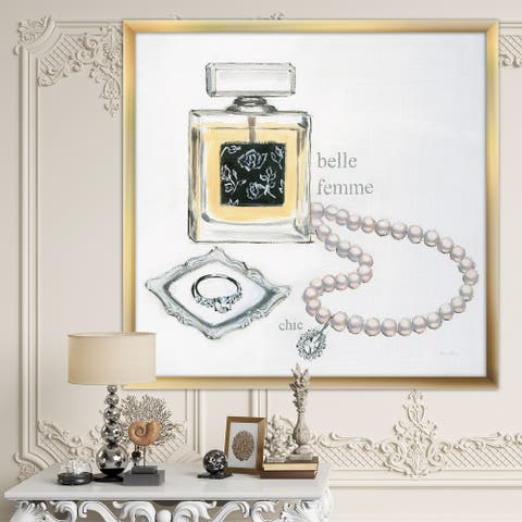 Designart 'Perfume Glam Bathroom I' Traditional Bathroom Framed Art Print