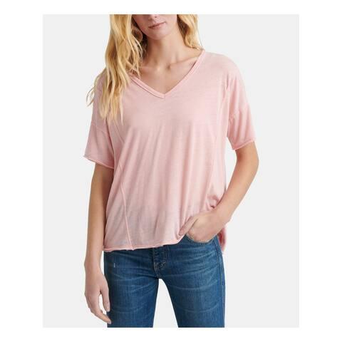 LUCKY BRAND Womens Pink Short Sleeve V Neck T-Shirt Top Size L