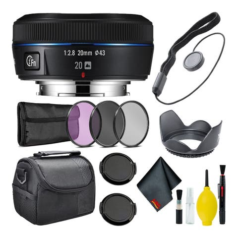 Samsung 20mm f/2.8 Wide-Angle Pancake Lens (Black) NX Mount + Warranty + Cleaning Kit + Case + Accessories Bundle